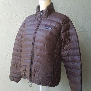 Patagonia women's brown puffy jacket goose down